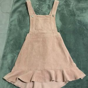Blush Pink Corduroy Overall Dress